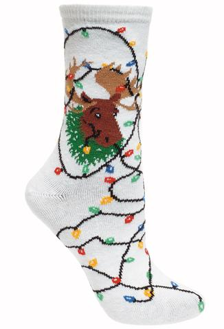 Christmas Lights Moose Socks