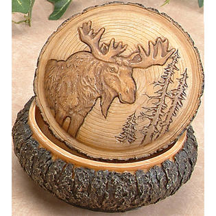 Resin Carved Faux Wood Moose Trinket Box