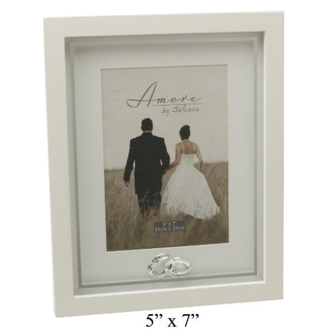 "Amore Wedding Gifts. Photo Picture Frame with Crystal Rings 5""x7"""