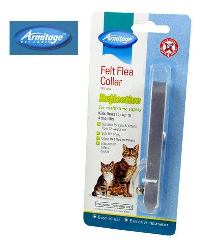 Armitage Cat Flea Collar Reflective 4 Month Elastic