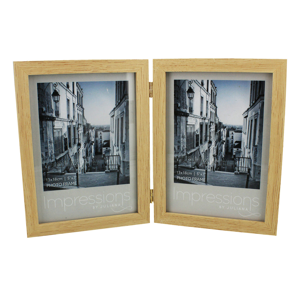 Natural Wood Double Hinged Portrait Photo Frame Takes 2 of 5X7 Inch ...