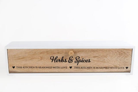 """Herb And Spices"" Wooden Storage Drawer"
