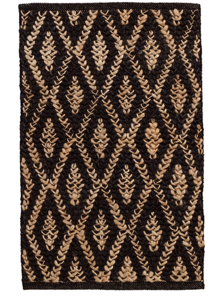 Diamond Black/Natural Jute Rug