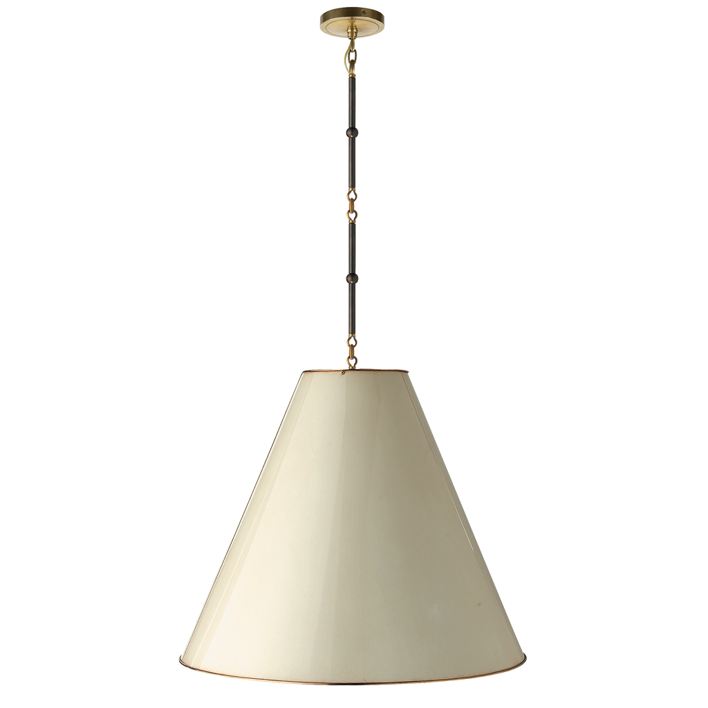 Goodman Large Hanging Lamp in Bronze and Hand-Rubbed Antique Brass with Antique White Shade