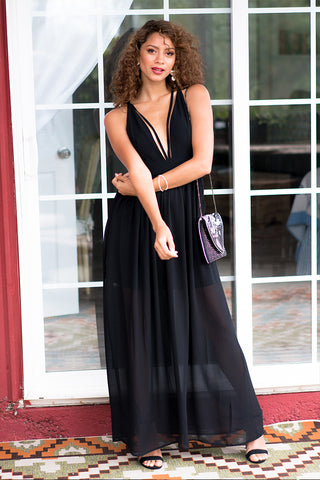 Black Sheer Maxi Dress with Deep V-Neck