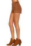 Women's Suede Side Tie Shorts