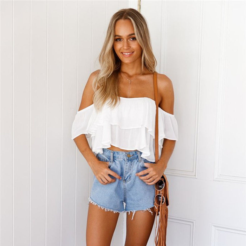 Women Blouses Sleeveless 2017 Women Chiffon White Blouse blusa Pullover Shirt Off Shoulder blusa Casual Blouse Tops