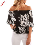 Summer Off Shoulder Blouse 2017 Women Vest Tops Short Sleeve Shirt Blouse Casual Flare Flower Print Black Tops Shirt