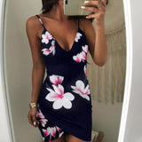 Women's V-Neck Flowers Sleeveless Evening Party Casual Loose Mini Dress