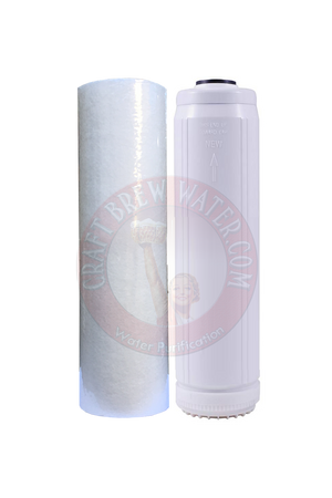 "2.5"" X 10"" 25/5 Micron Melt-Blown Filter and 2.5"" X 10"" Cat Carbon Set for Chloramine removal"