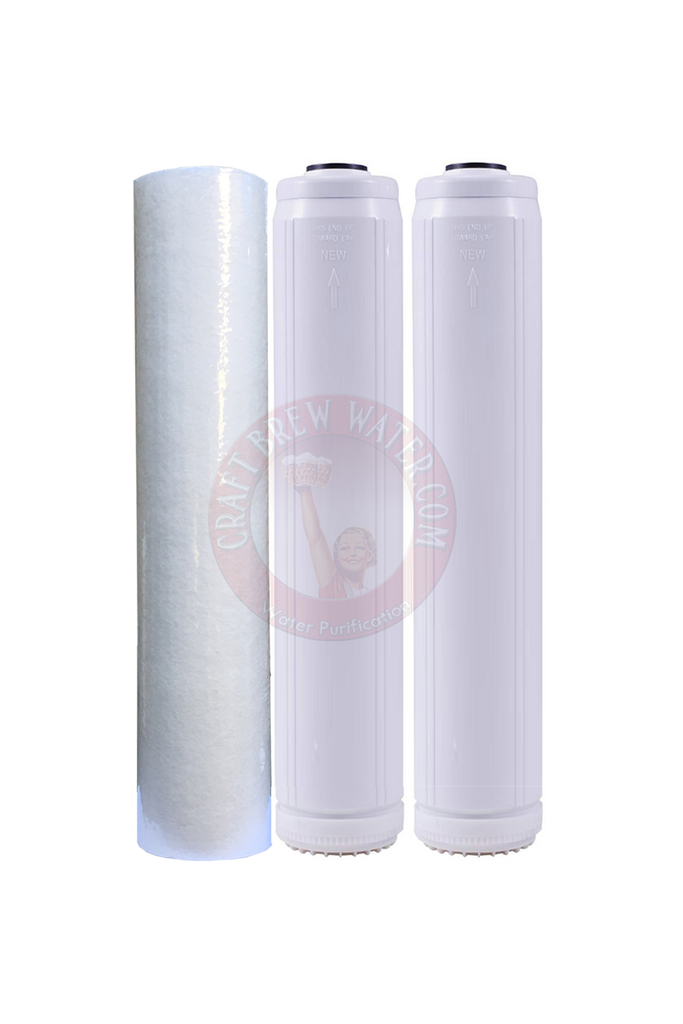 "2.5"" x 20"" Filter Set with Gradulant Sediment Filter and 2 Chloramine Carbon Filters"