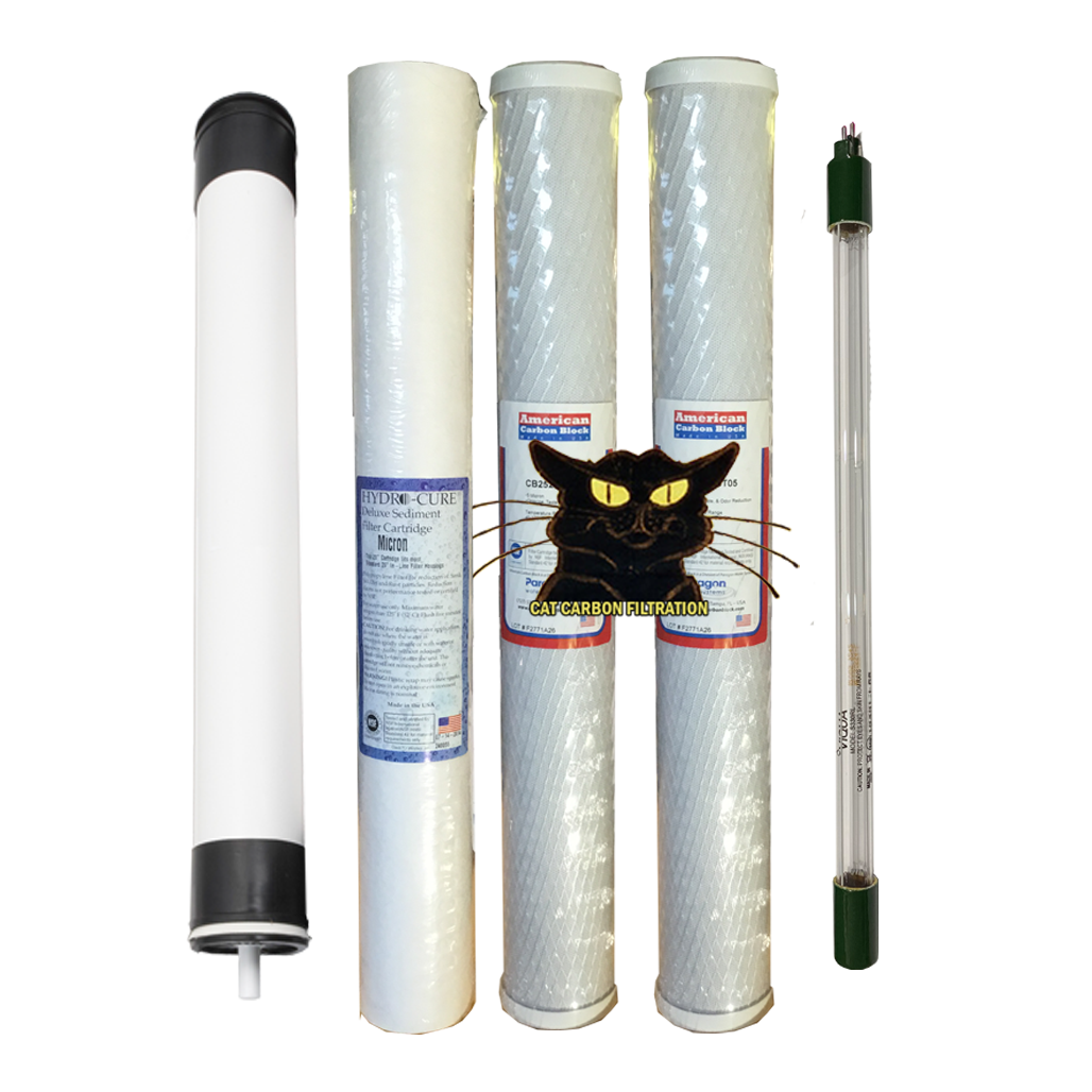 "2.5"" x 20"" 3 Pack CAT Filter Set with 2.0 GPM Viqua UV and Membrane"