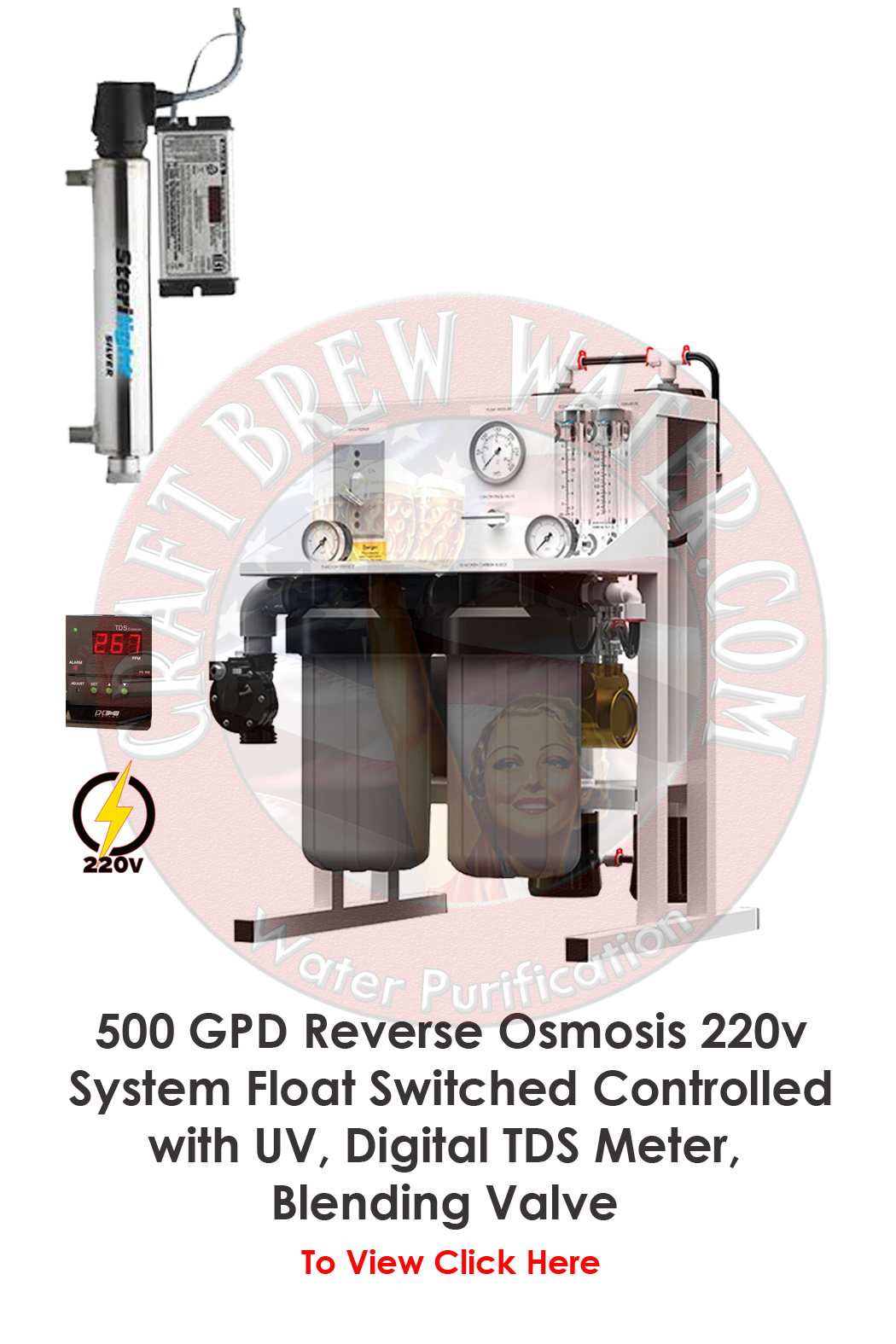 Craft Brew 500 GPD Reverse Osmosis 220v System Pressure Switch Controlled with UV and Blending Valve.