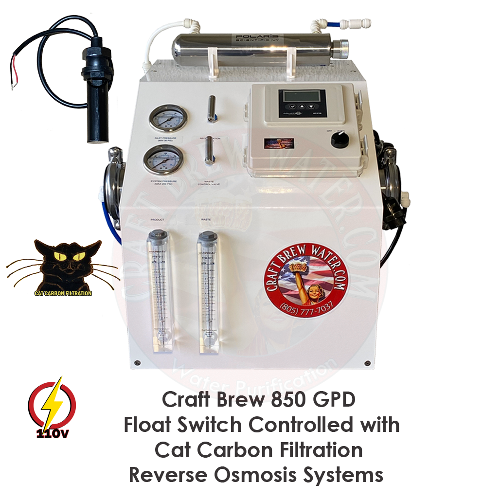 Craft Brew 850 GPD Float Switched Controlled Cat Carbon Reverse Osmosis System