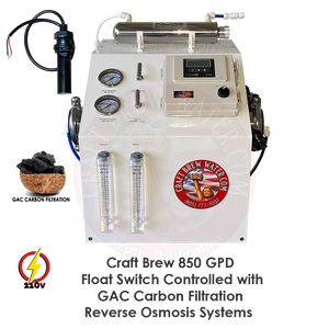 Craft Brew 850 GPD Float Switched Controlled GAC Reverse Osmosis System