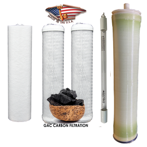 "2.5 x 10 GAC Filter Set With 2.0 GPM UV Bulb and 4"" x 21"" Membrane"