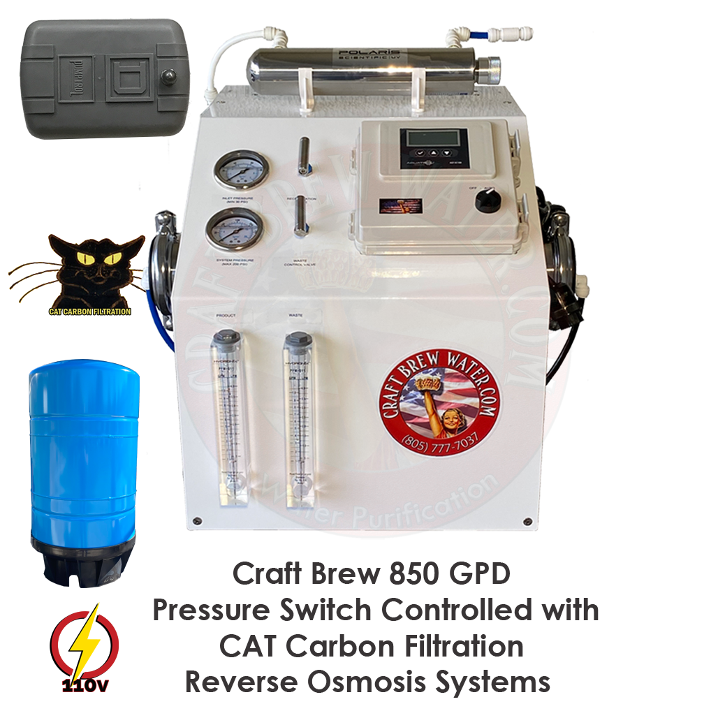 Craft Brew 850 GPD Pressure Switched Controlled Cat Carbon Reverse Osmosis System
