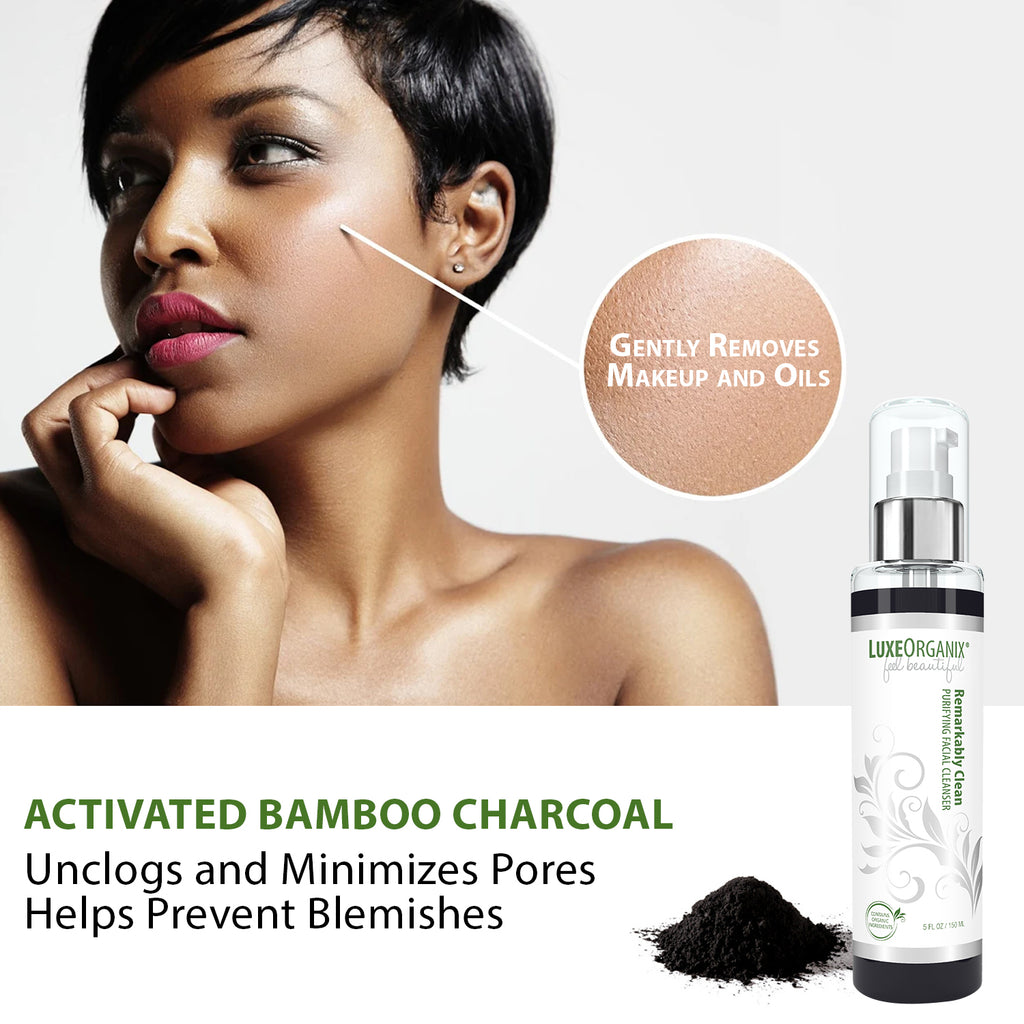 Remarkably Clean Purifying Facial Cleanser: Activated Charcoal Face Wash For Oily, Aging, Sensitive Or Combination Skin