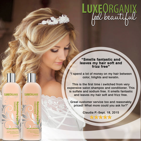 LuxeOrganix Moroccan Argan Oil Shampoo and Conditioner - (16 oz Set)