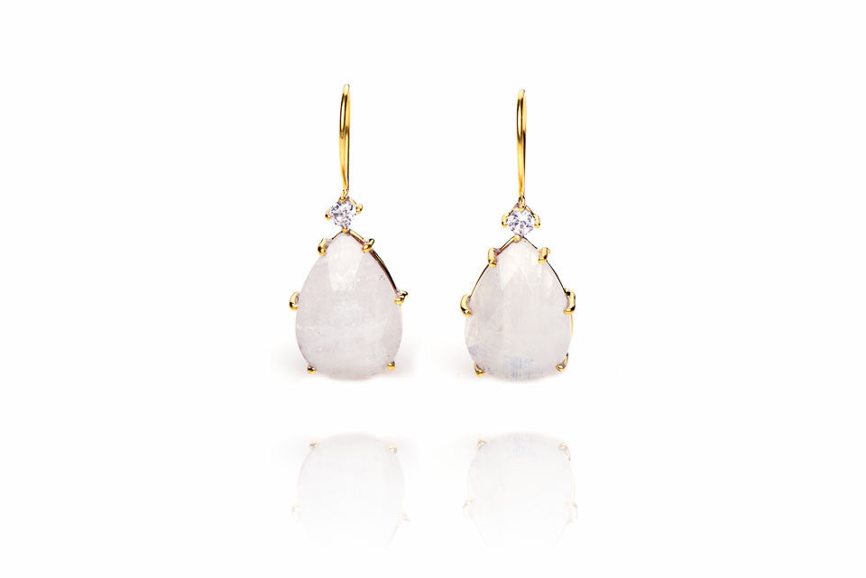 Greenwich Village Earrings in Moonstone