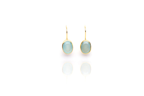 Drop in the Ocean Earrings in Chalcedony