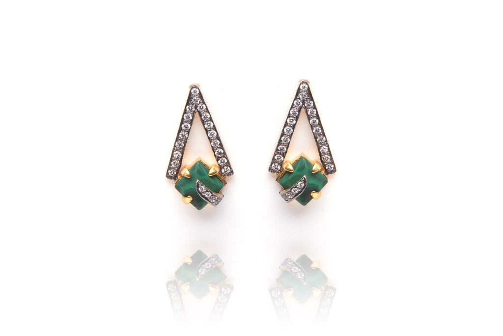 Pyramid Earrings in Green