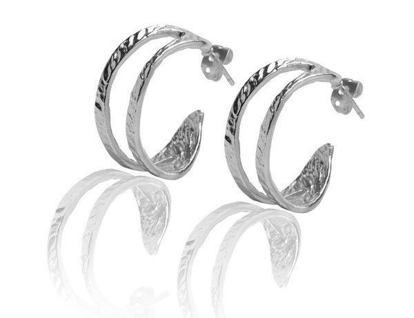 Crescent Earrings in Silver