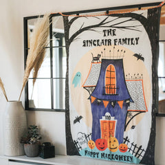 haunted house personalised banner for halloween