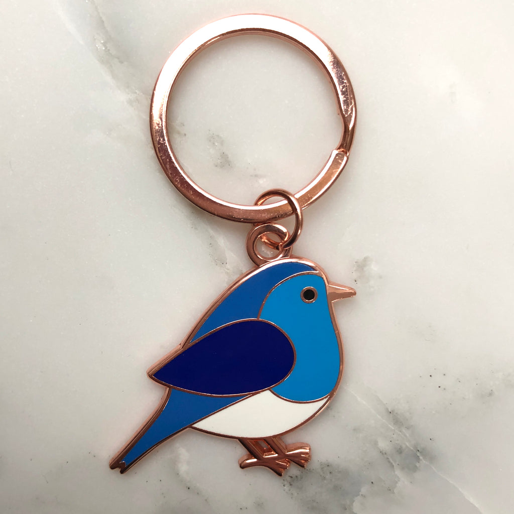 blue bird keyring, blue bird keychain, blue bird key ring, bluebird, enamel keyring, enamel keychain, bird gift, bird gift grandparent, gift for gardener