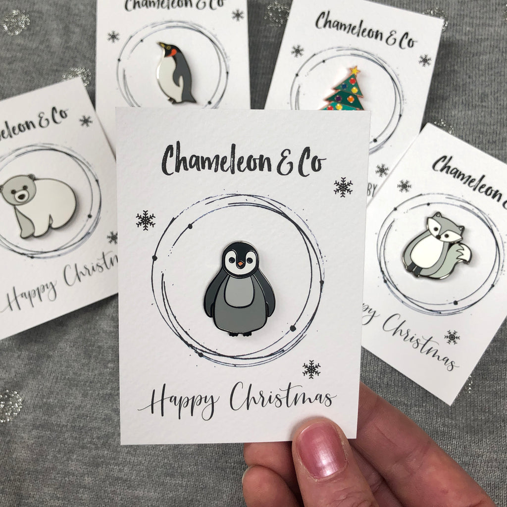 christmas pin, xmas enamel pin, christmas pin badge, christmas badge, stocking filler, secret santa badge, cute penguin pin badge, festive badge, christmas jumper badge