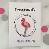 flamingo enamel pin, flamingo pin badge, pink flamingo badge, flamingo lapel pin, flamingo lapel badge, flamingo gift idea, flamingo accessory, tropical, chameleon & co, chameleon & co pin
