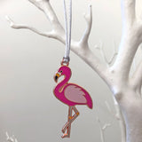 flamingo xmas decoration, flamingo bauble, flamingo christmas tree decoration, tropical tree decoration