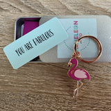 you are fabulous flamingo keyring, flamingo keyring, keyring gift for firend, lockdown gift, isolation gift, quarantine gift, social distance gift, positive message gift for friend, letterbox gift
