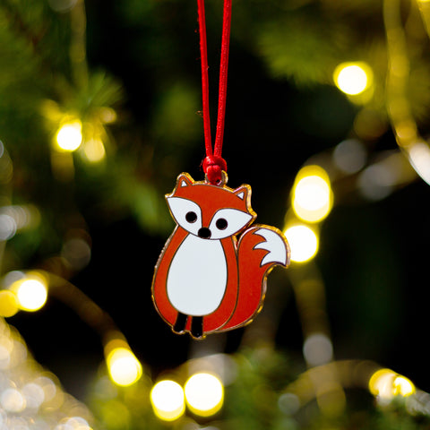 fox christmas tree decoration, fox xmas tree decoration, fox gift, fox christmas gift, fox secret santa gift, gift for fox lover, animal christmas tree decoration, animal christmas bauble