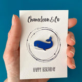 whale birthday gift. happy birthday pin badge, enamel pin birhtday gift, easy to post birthday gift, letterbox birthday gift, happy birthday gift for friend
