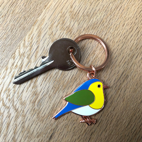 blue tit keyring, garden bird keyring, bird keychain, bird keyring, bird key ring, blue yellow and green bird, gardener gift, grandparent gift