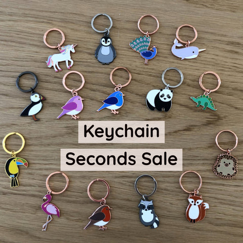 seconds sale, seconds enamel keyrings, B Grade sale, keyring sale, Flawed sale, defective sale, enamel pin seconds