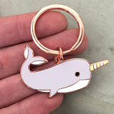 narwhal keyring, narwhal key ring, narwhal keychain, narwhal key fob, narwhal accessory, gift for narwhal lover, narwhal gift, cute keyring, quirky keyring, unusual keyring, enamel keyring