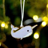 narwhal christmas tree decoration, narwhal xmas decoration, quirky christmas tree decoration, cute christmas tree decoration, child's christmas tree decoration, toddler christmas decoration