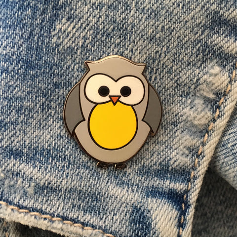 owl pin badge, owl enamel pin, owl pin, cute owl pin, good luck gift, back to school gift, exam gift, teacher gift, chameleon & co