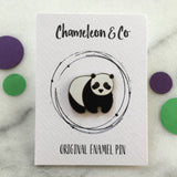 panda enamel pin, panda pin, panda lapel badge, panda enamel pin badge, panda, back to school pin badge, book bag enamel pin badge, stocking filler panda, panda gift for kids