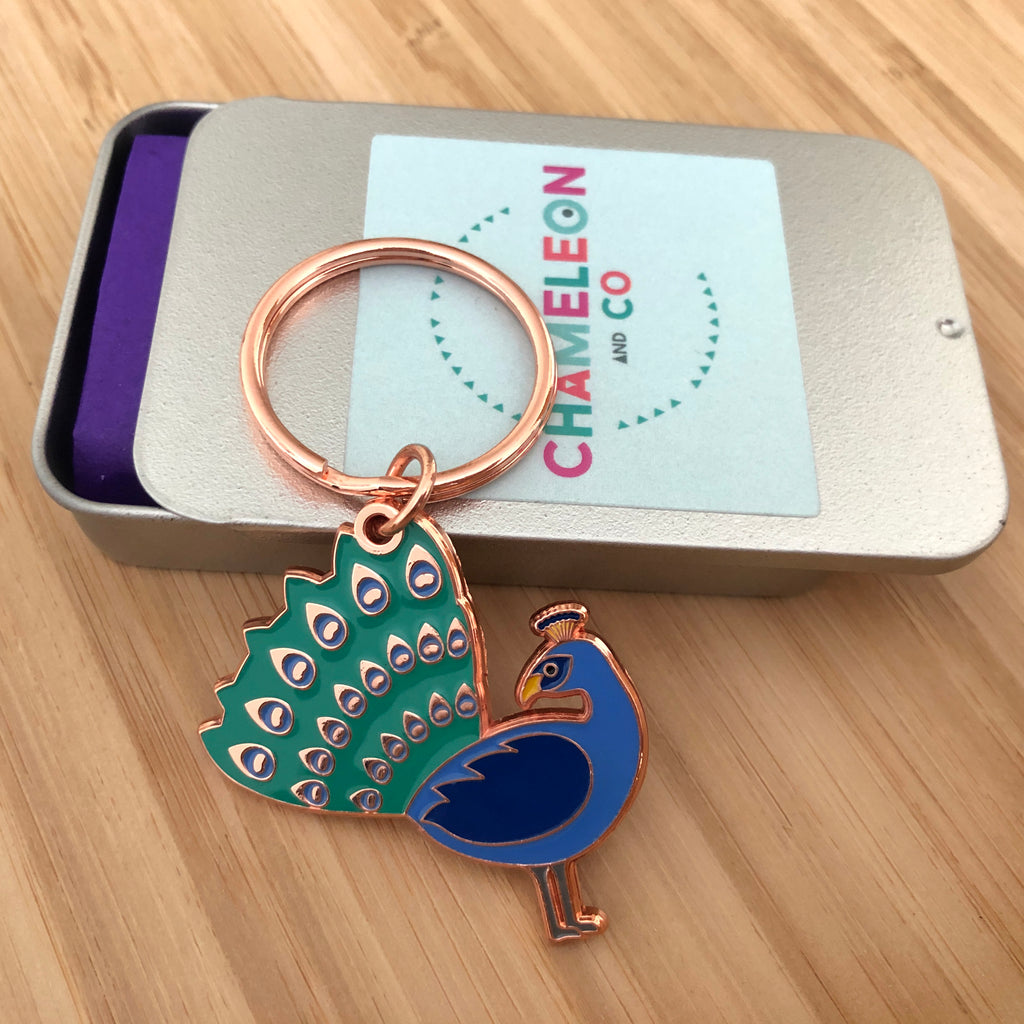 peacock keyring, peacock keychain, peacock key ring, peacock key chain, peacock accessory, enamel keyring, peacock gift, bird keyring, gift for peacock lover