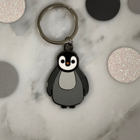 penguin keyring, penguin key ring, penguin gift, hard enamel keyring, christmas keyring, christmas gift for boy, secret santa gift, stocking filler, penguin