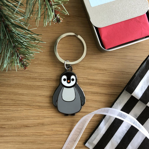 penguin keyring, penguin christmas keyring, penguin gift, christmas gift for penguin lover, penguin accessory, penguin