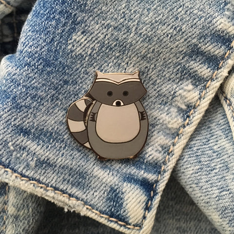 raccoon pin, raccoon pin badge, raccoon enamel pin, raccoon lapel pin, raccoon lapel badge, raccoon hard enamel pin, enamel pin, cute enamel pin, cute animal pin
