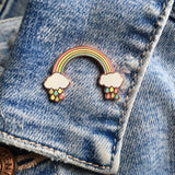 pastel rainbow pin badge, rainbow with raindrops enamel pin, rainbow pin, rainbow badge
