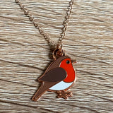 robin necklace, robin pendant, robin necklace on rose gold chain, robin christmas necklace, robin enamel necklace, robin jewellery
