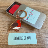 thinking of you robin keyring, thinking of you gift, lockdown gift, letterbox gift keyring, robin gift