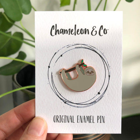 sloth enamel pin badge, sloth pin, sloth lapel badge, sloth accessory, gift for sloth lover, sloth badge, sloth gift, sloth