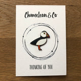 gift to cheer friend up, puffin pin badge